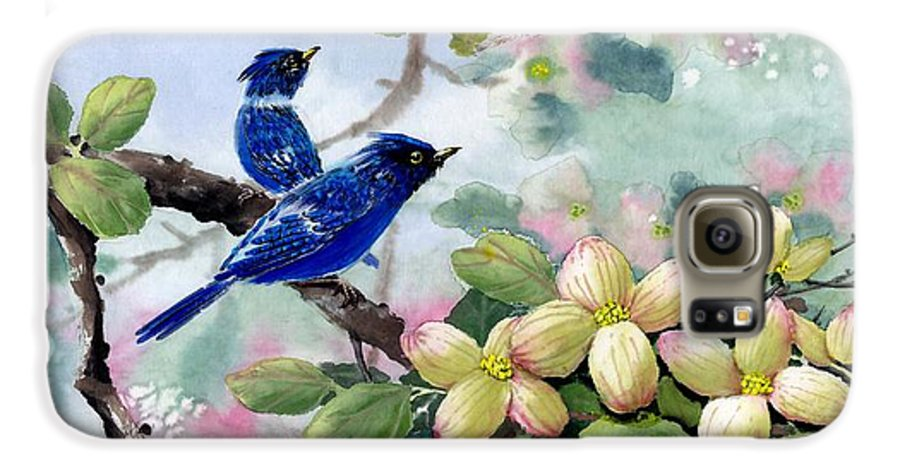 Blue Jays Galaxy S6 Case featuring the painting A Touch Of Pink On White by Eileen Fong