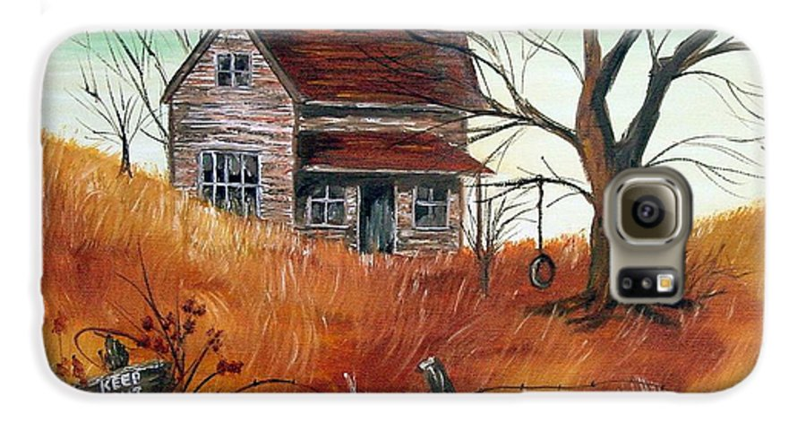 Landscape Galaxy S6 Case featuring the painting Abandoned Farmhouse by Quwatha Valentine