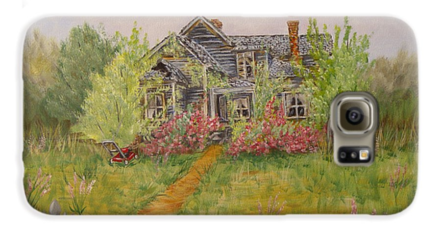 Landscape Galaxy S6 Case featuring the painting Abandoned House by Quwatha Valentine