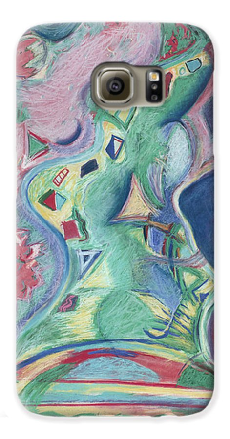 Abstract Galaxy S6 Case featuring the painting Abstract 92 - Inner Landscape by Kerryn Madsen- Pietsch