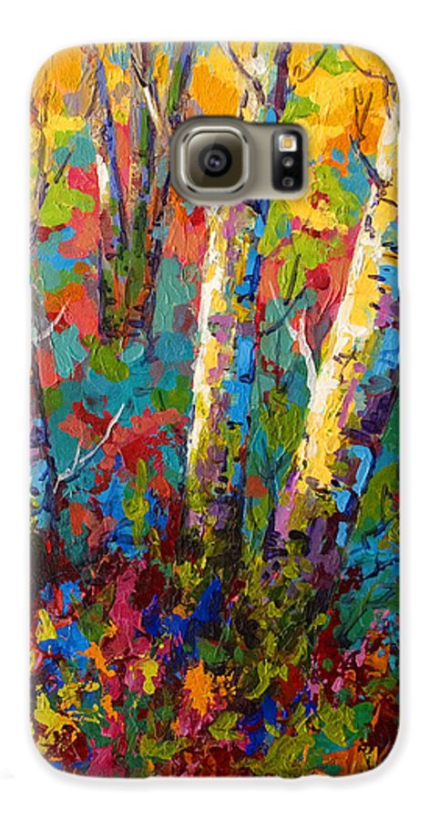Trees Galaxy S6 Case featuring the painting Abstract Autumn II by Marion Rose