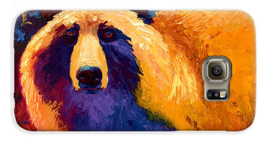Western Galaxy S6 Case featuring the painting Abstract Grizz II by Marion Rose