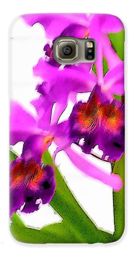 Flowers Galaxy S6 Case featuring the digital art Abstract Iris by Anita Burgermeister