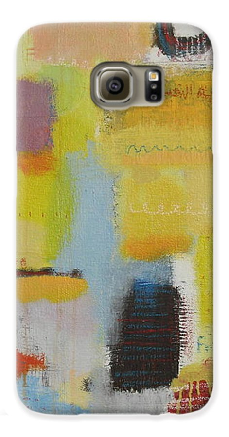 Abstract Galaxy S6 Case featuring the painting Abstract Life 3 by Habib Ayat