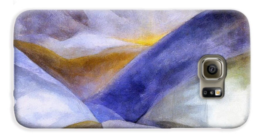 Blue Galaxy S6 Case featuring the painting Abstract Mountain Landscape by Michelle Calkins