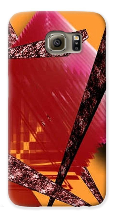 Abstracts Galaxy S6 Case featuring the digital art Abstract-n-gold by Brenda L Spencer