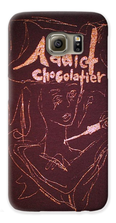 Dark Chocolate Galaxy S6 Case featuring the drawing Addict Chocolatier by Ayka Yasis