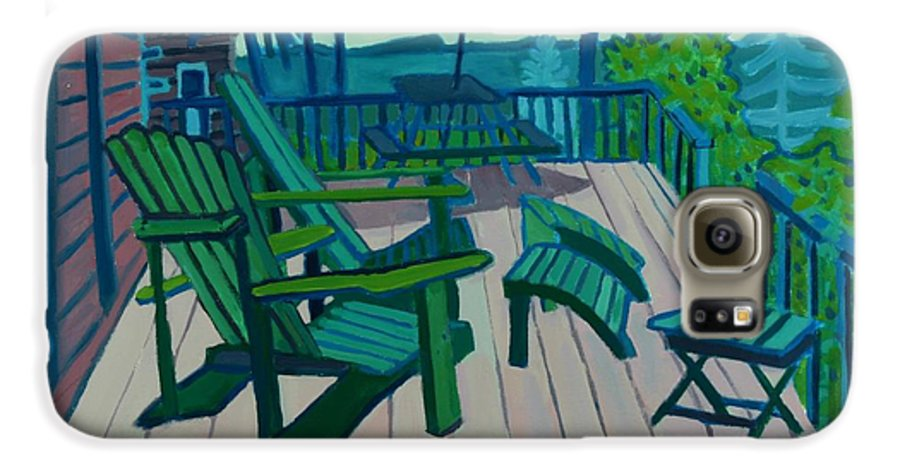 Ocean Galaxy S6 Case featuring the painting Adirondack Chairs Maine by Debra Bretton Robinson