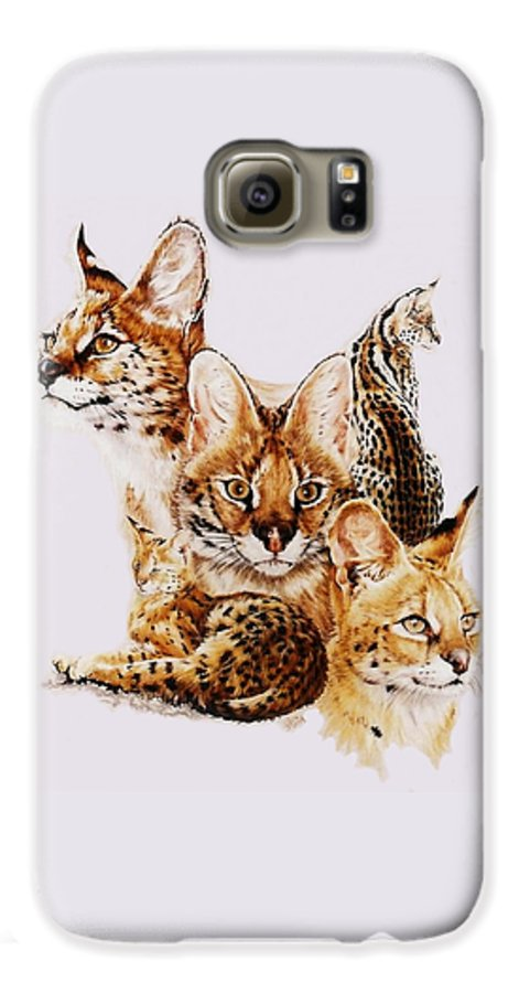 Serval Galaxy S6 Case featuring the drawing Adroit by Barbara Keith
