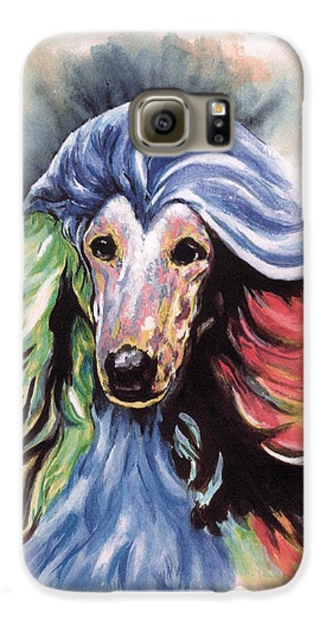 Afghan Hound Galaxy S6 Case featuring the painting Afghan Storm by Kathleen Sepulveda