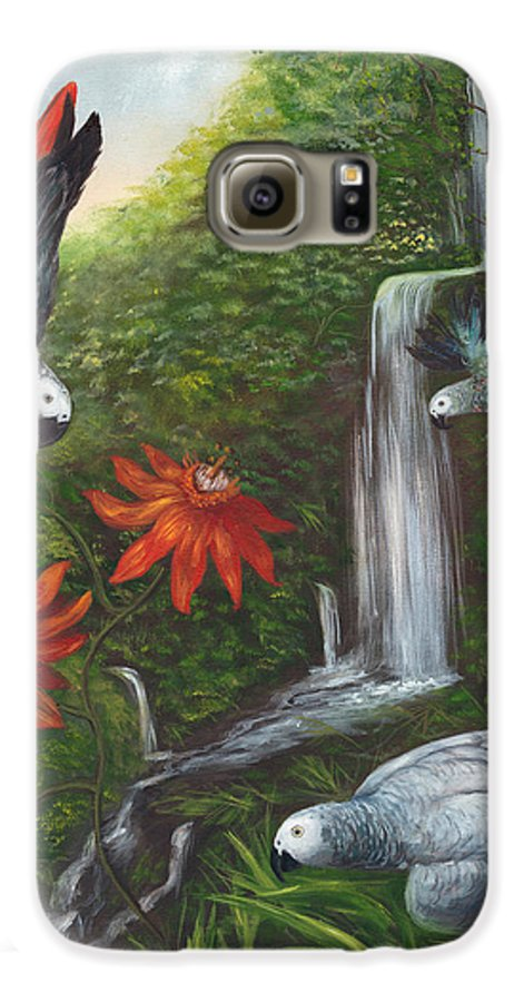 Landscape Galaxy S6 Case featuring the painting African Grays by Anne Kushnick