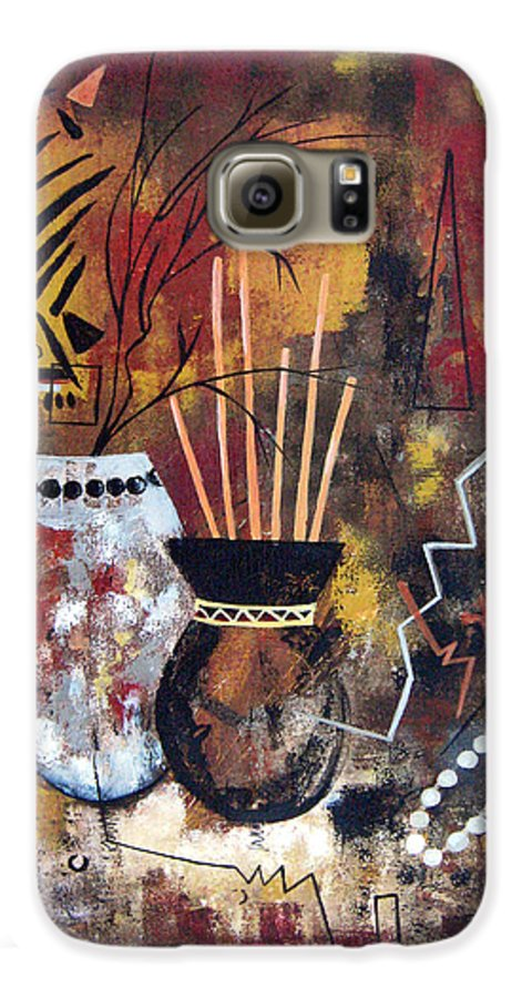 Abstract Galaxy S6 Case featuring the painting African Perspective by Ruth Palmer