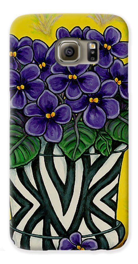 Violets Galaxy S6 Case featuring the painting African Queen by Lisa Lorenz