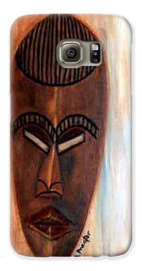 African Galaxy S6 Case featuring the painting African Warrior by Donna Proctor