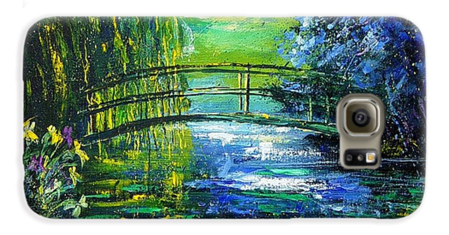 Pond Galaxy S6 Case featuring the painting After Monet by Pol Ledent