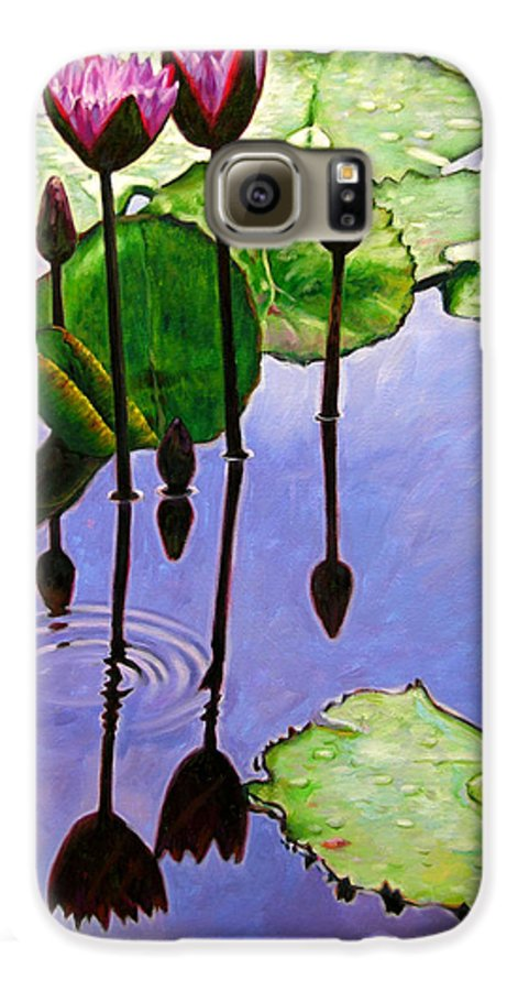 Rose Colored Water Lilies After A Morning Shower With Dark Reflections And Water Ripple. Galaxy S6 Case featuring the painting After The Shower by John Lautermilch