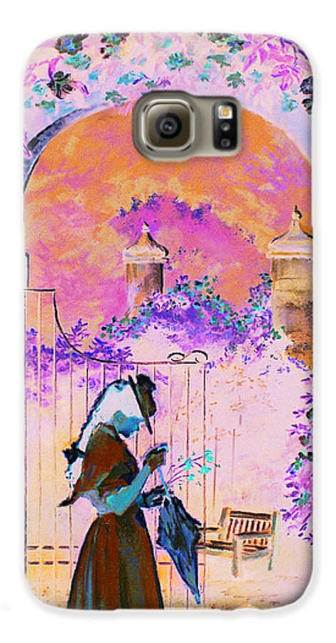 Rose Galaxy S6 Case featuring the painting Afternoon Stroll by Jean Hildebrant