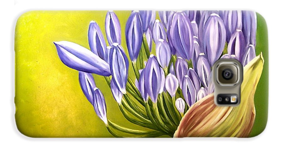 Flower Galaxy S6 Case featuring the painting Agapanthos by Natalia Tejera