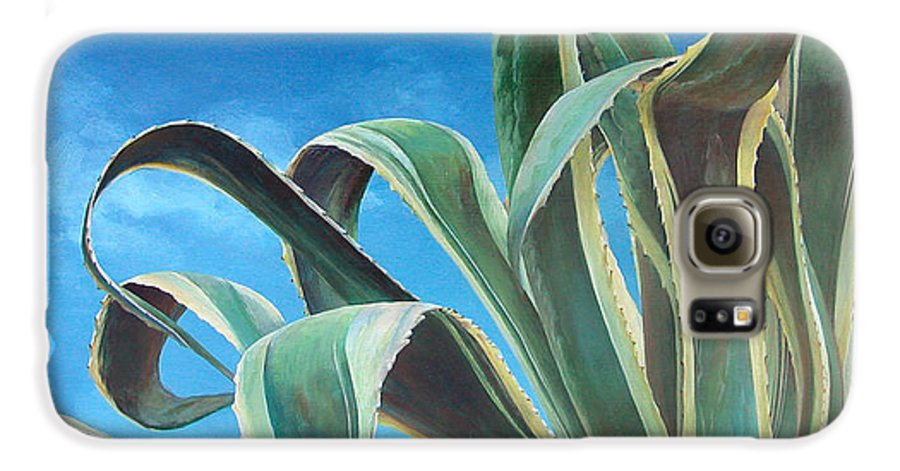 Floral Painting Galaxy S6 Case featuring the painting Agave by Muriel Dolemieux