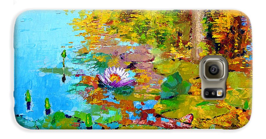 Fall Galaxy S6 Case featuring the painting Aglow With Fall by John Lautermilch