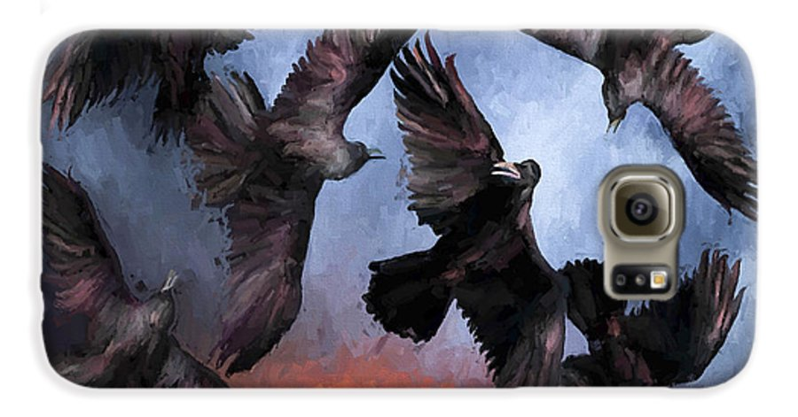 Fine Art Galaxy S6 Case featuring the painting Airborne Unkindness by David Wagner