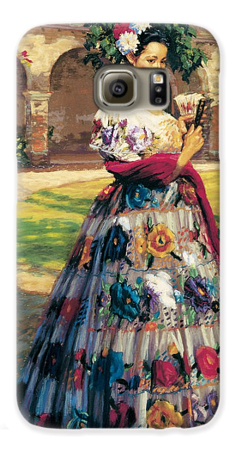 Woman Elaborately Embroidered Mexican Dress. Background Mission San Juan Capistrano. Galaxy S6 Case featuring the painting Al Aire Libre by Jean Hildebrant