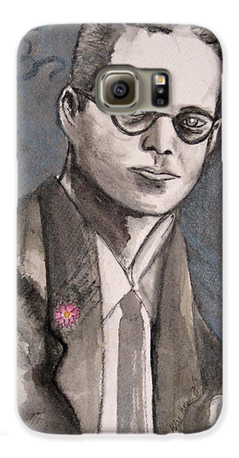 Aldous Brave Darkestartist Huxley New Painting Portrait Watercolor Watercolour World Galaxy S6 Case featuring the painting Aldous Huxley by Darkest Artist