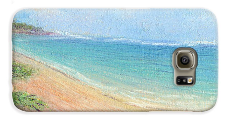 Rainbow Colors Pastel Galaxy S6 Case featuring the painting Aliomanu Beach by Kenneth Grzesik