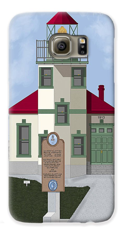 Lighthouse Galaxy S6 Case featuring the painting Alki Point On Elliott Bay by Anne Norskog