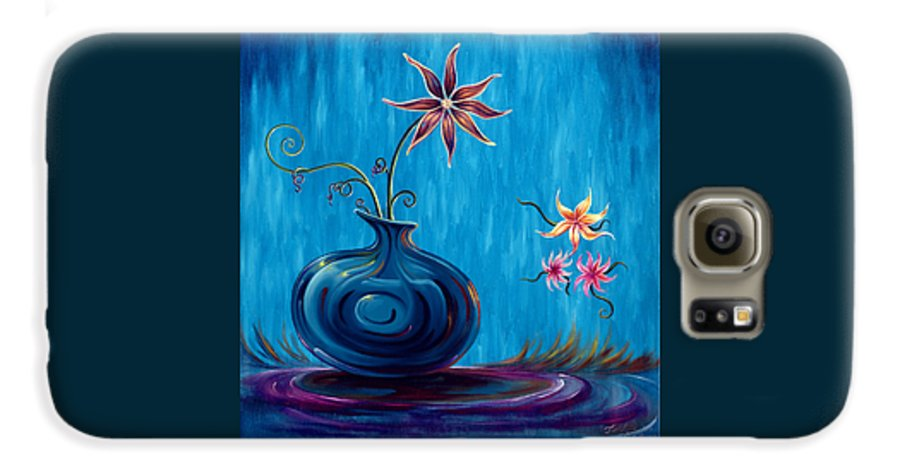 Fantasy Floral Scape Galaxy S6 Case featuring the painting Aloha Rain by Jennifer McDuffie