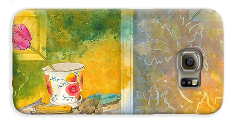 Garden Galaxy S6 Case featuring the painting Along The Garden Wall by Jean Blackmer