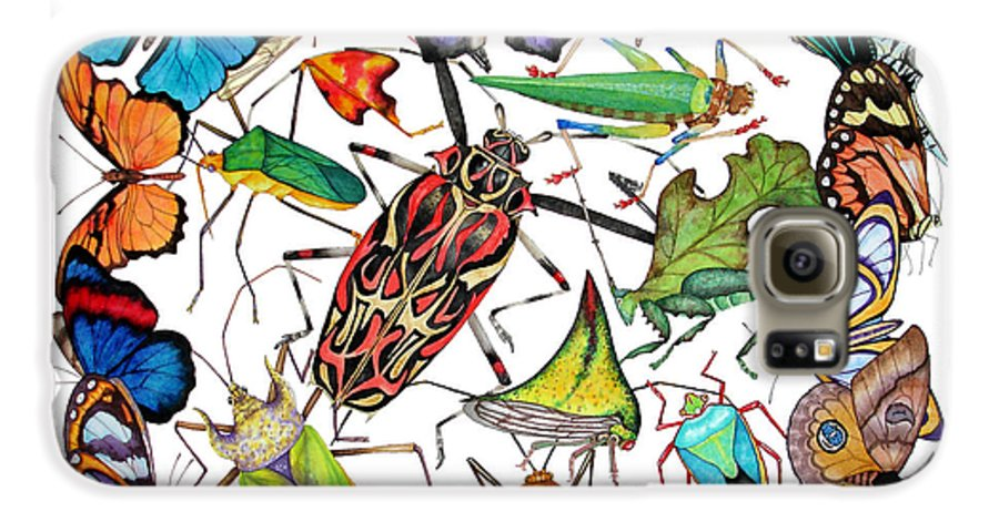 Insects Galaxy S6 Case featuring the painting Amazon Insects by Lucy Arnold