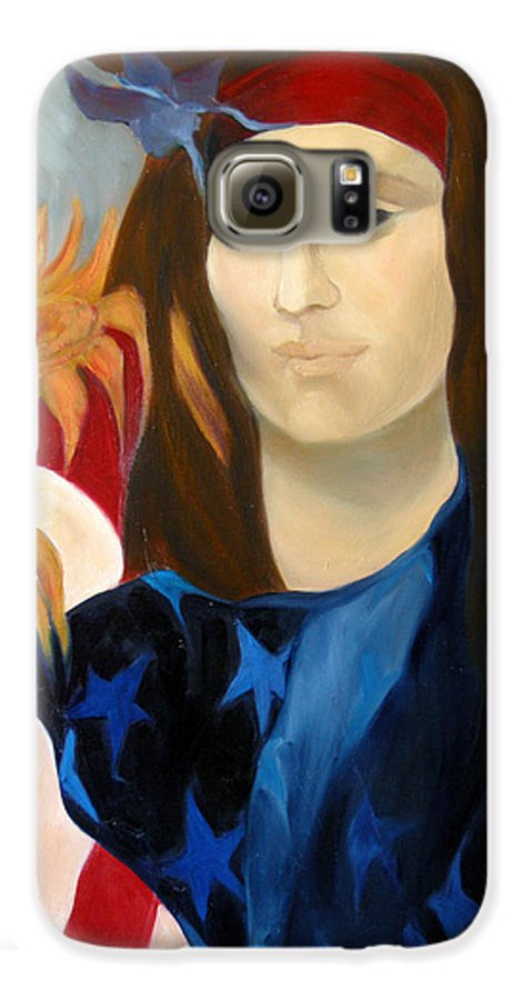 Figurative Galaxy S6 Case featuring the painting American Jokonda by Antoaneta Melnikova- Hillman