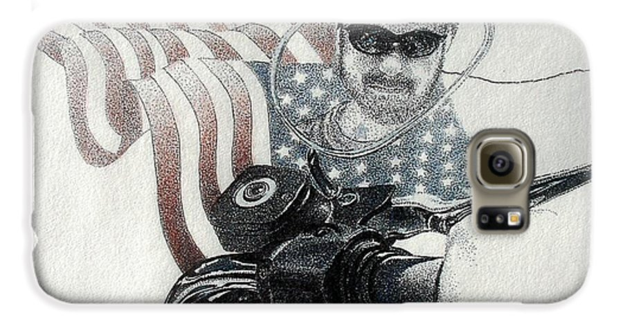 Motorcycles Harley American Flag Cycles Biker Galaxy S6 Case featuring the drawing American Rider by Tony Ruggiero