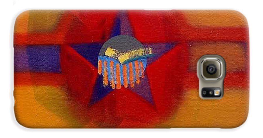 Usaaf Insignia And Idealised Landscape In Union Galaxy S6 Case featuring the painting American Sub Decal by Charles Stuart