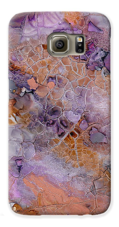 Abstract Galaxy S6 Case featuring the mixed media Amethyst And Copper by Susan Kubes
