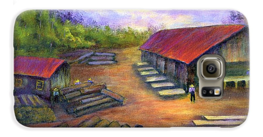 Amish Galaxy S6 Case featuring the painting Amish Lumbermill by Gail Kirtz