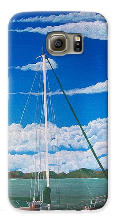 Anchored Galaxy S6 Case featuring the painting Anchored by Tony Rodriguez