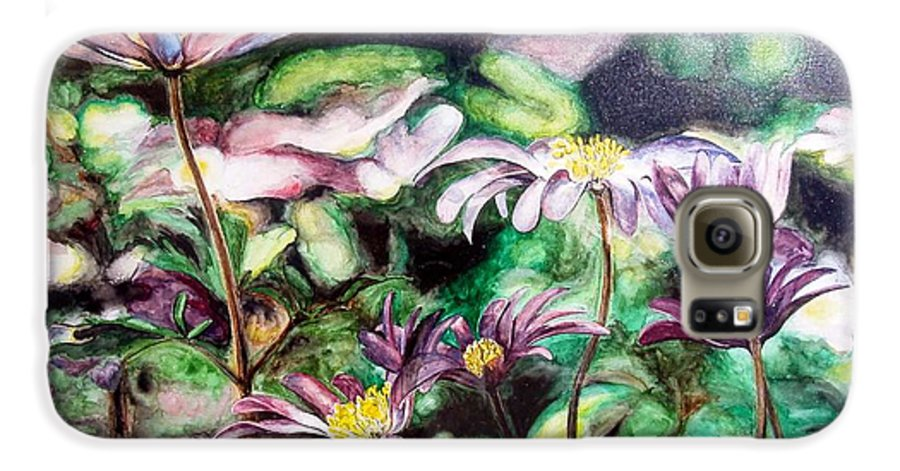 Floral Painting Galaxy S6 Case featuring the painting Anemones Japonaises by Muriel Dolemieux