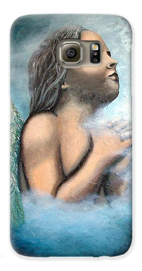 Angel Galaxy S6 Case featuring the painting Angel Of Faith by Elizabeth Lisy Figueroa