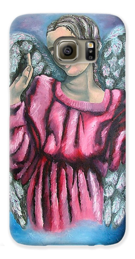 Angel Galaxy S6 Case featuring the painting Angel Of Hope by Elizabeth Lisy Figueroa