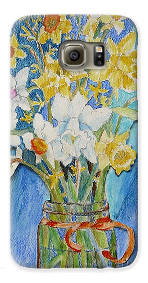 Flowers Galaxy S6 Case featuring the painting Angels Flowers by Jan Bennicoff
