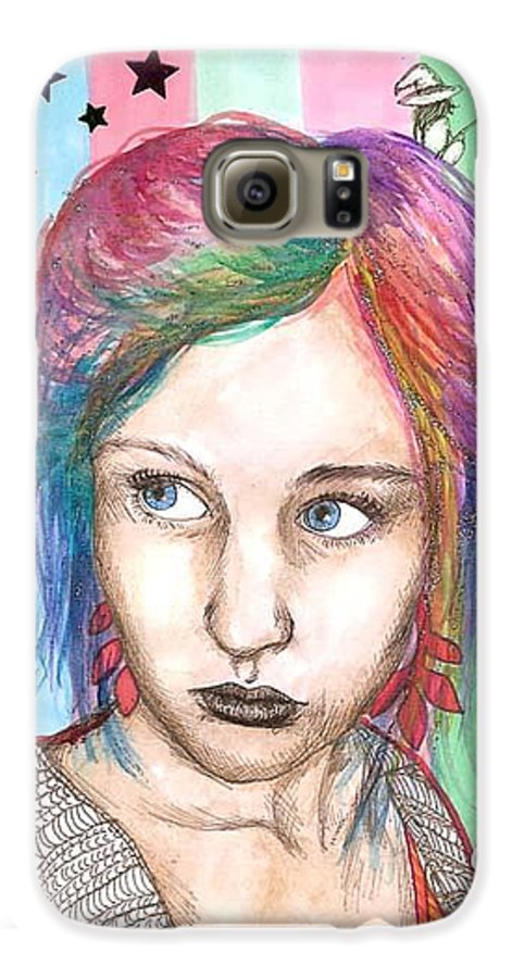 Stars Galaxy S6 Case featuring the drawing Anne Sofie by Freja Friborg