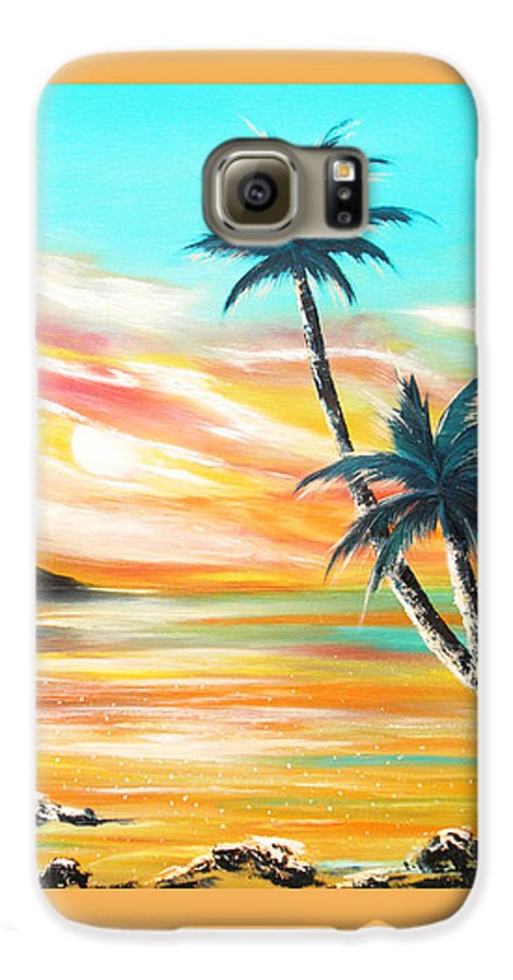 Sunset Galaxy S6 Case featuring the painting Another Sunset In Paradise by Gina De Gorna