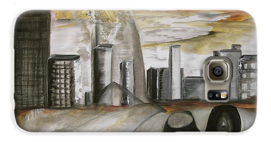 Apocalypse City End Futurism Inch Nails Nin Nine Oil Painting Times Year Zero Galaxy S6 Case featuring the painting Another Version Of The Truth by Darkest Artist