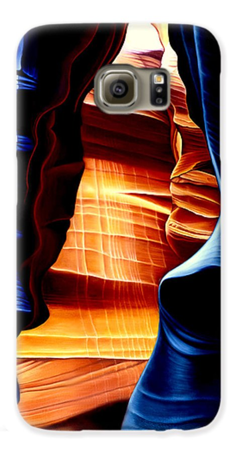 Landscape Galaxy S6 Case featuring the painting Antelope Canyon by Anni Adkins