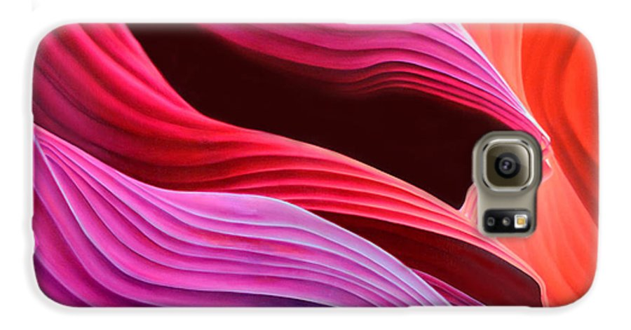 Antelope Canyon Galaxy S6 Case featuring the painting Antelope Waves by Anni Adkins