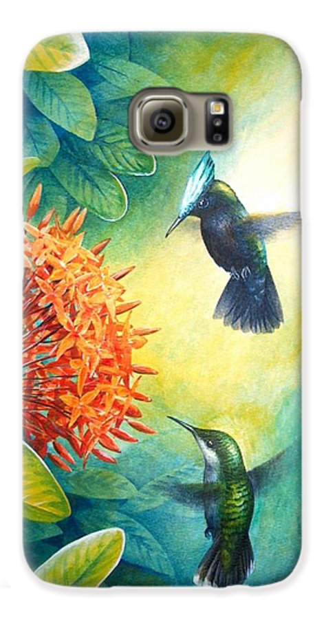 Chris Cox Galaxy S6 Case featuring the painting Antillean Crested Hummingbirds And Ixora by Christopher Cox