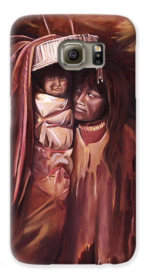 Native American Galaxy S6 Case featuring the painting Apache Girl And Papoose by Nancy Griswold