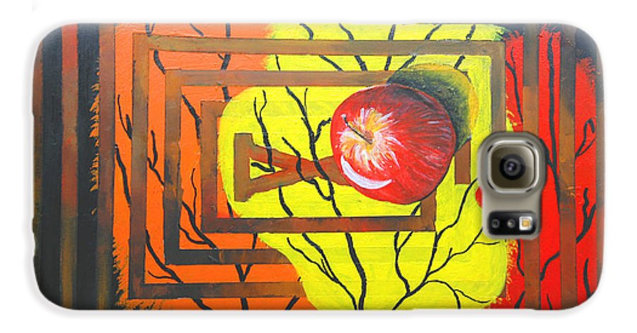 Abstract Galaxy S6 Case featuring the painting Apple by Olga Alexeeva